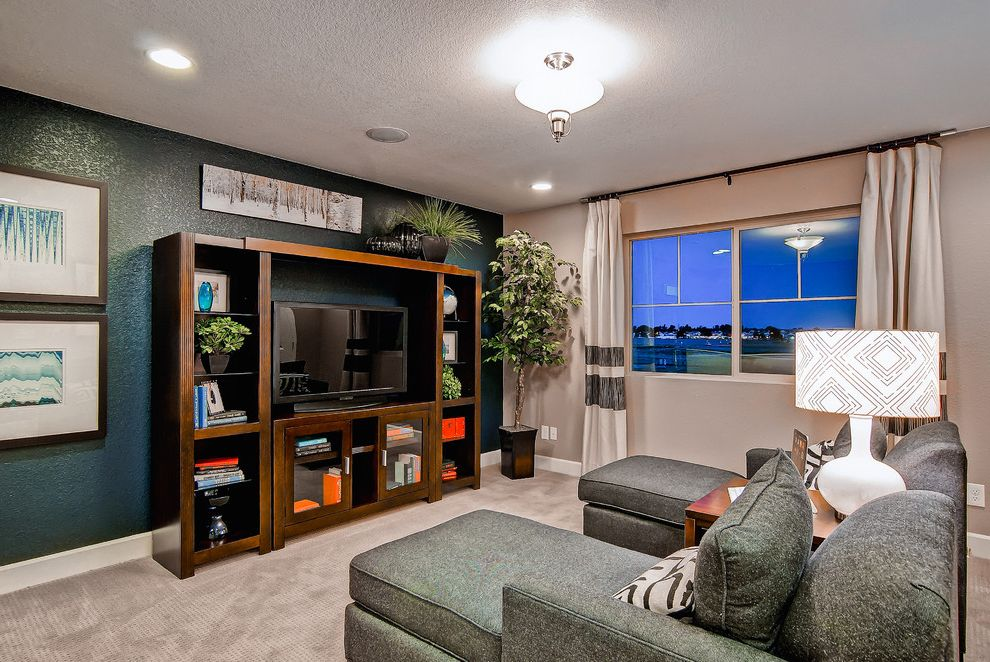 Oakwood Theater   Contemporary Home Theater  and Colorado Collection Colorado Homes Denver Entertainment Center Family Room Lounge Smart Space the Telluride