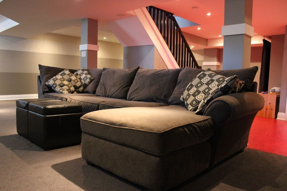 Oakwood Theater   Contemporary Spaces Also Basement Fireplace Grey Marmoleum Playroom Railing Red Floor Stairs Storage Television Theater Wintergreen