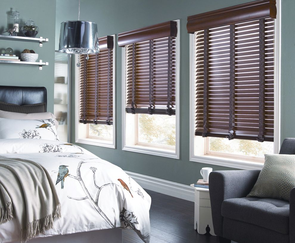 Octagon Window Blinds with Contemporary Bedroom  and Blinds Curtains Drapery Drapes Horizontal Blinds Roman Shades Shades Shutter Window Blinds Window Coverings Window Treatments Wood Blinds