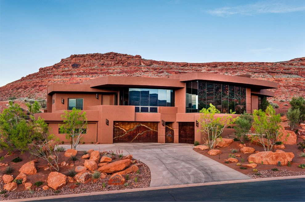 Odyssey House of Utah   Contemporary Exterior  and Contemporary Design Flat Top Roof Mountain Home Red House Red Rock