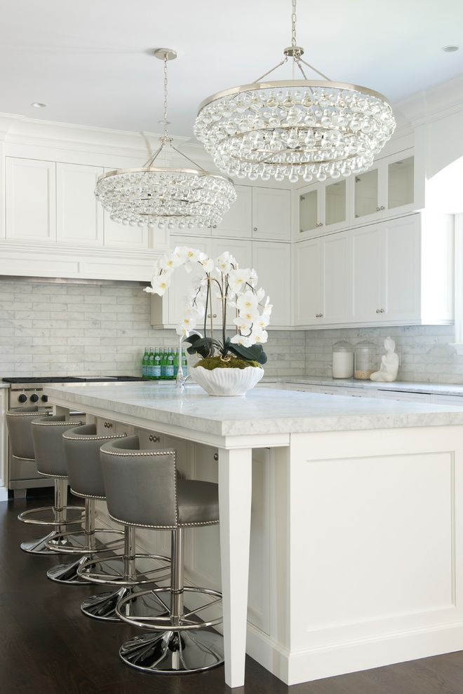 Off White Bar Stools   Transitional Kitchen  and 2 Chandeliers Bling Lighting Comfortable Luxury Gray Bar Stools Modern Luxe Quiet Sophistication Refined Elegance Tones of Gray White Ktichen White Master Bathroom
