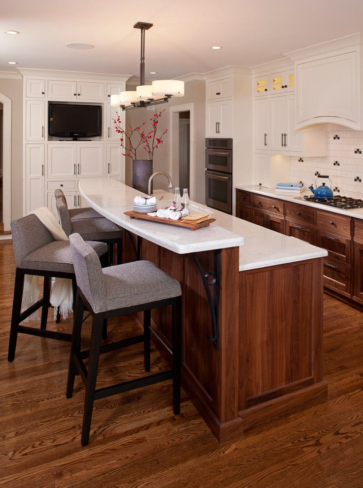 Off White Bar Stools   Transitional Kitchen  and Counter Stools Dark Stained Wood Frame and Panel Woodwork Gray Walls Oak Tile Backsplash Tv Wall Oven White Counters White Painted Trim Wood Floor