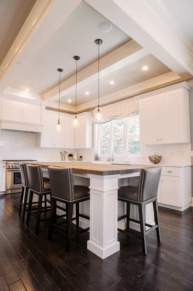 Off White Bar Stools with Transitional Kitchen  and Beadboard Ceiling Butcher Block Island Counter Stools Dark Wood Floors Nailhead Trim Pendant Lighting Valance White Kitchen White Panel Ceiling Window