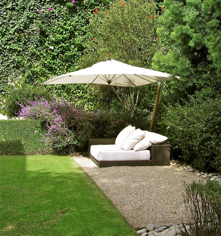 Offset Umbrella with Base   Contemporary Landscape Also Gravel Hedge Lawn Lounge Chair Stone Umbrella
