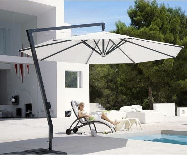 Offset Umbrella with Base   Modern Patio Also Home Infatuation Large Outdoor Umbrella Outdoor Outdoor Umbrellas Patio Patio Umbrella Square Umbrella