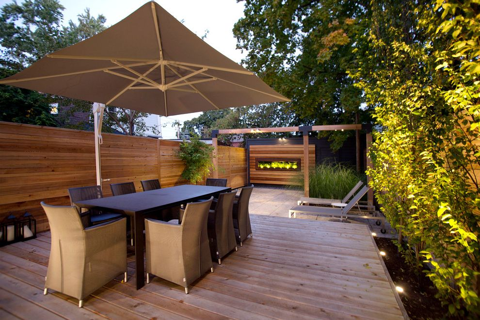 Offset Umbrella with Base with Modern Deck  and Deck Garden Lighting Outdoor Lighting Patio Furniture Patio Umbrella Small Garden Split Level Uplighting Wood Fencing