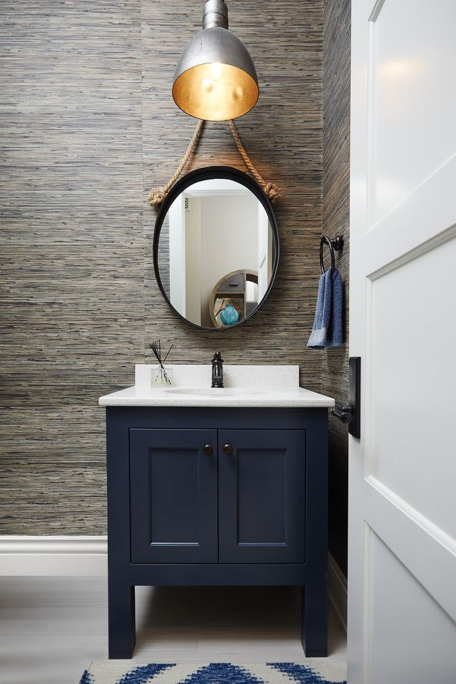 Oil Rubbed Bronze Wall Mirror with Beach Style Powder Room  and Grass Cloth Hand Towel Nautical Rope Navy Blue Oil Rubbed Bronze Oval Wall Mirror Pendant Light Towel Ring