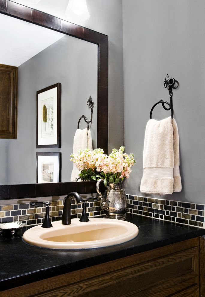 Oil Rubbed Bronze Wall Mirror with Traditional Powder Room Also Austin Interior Designer Austin Texas Interior Design Black Faucet Gray Walls Grey Hand Towel Lights Minas Mirror Oil Rubbed Bronze Paint Powder Bath Sink Slate Soapstone Tile Wood Mirror