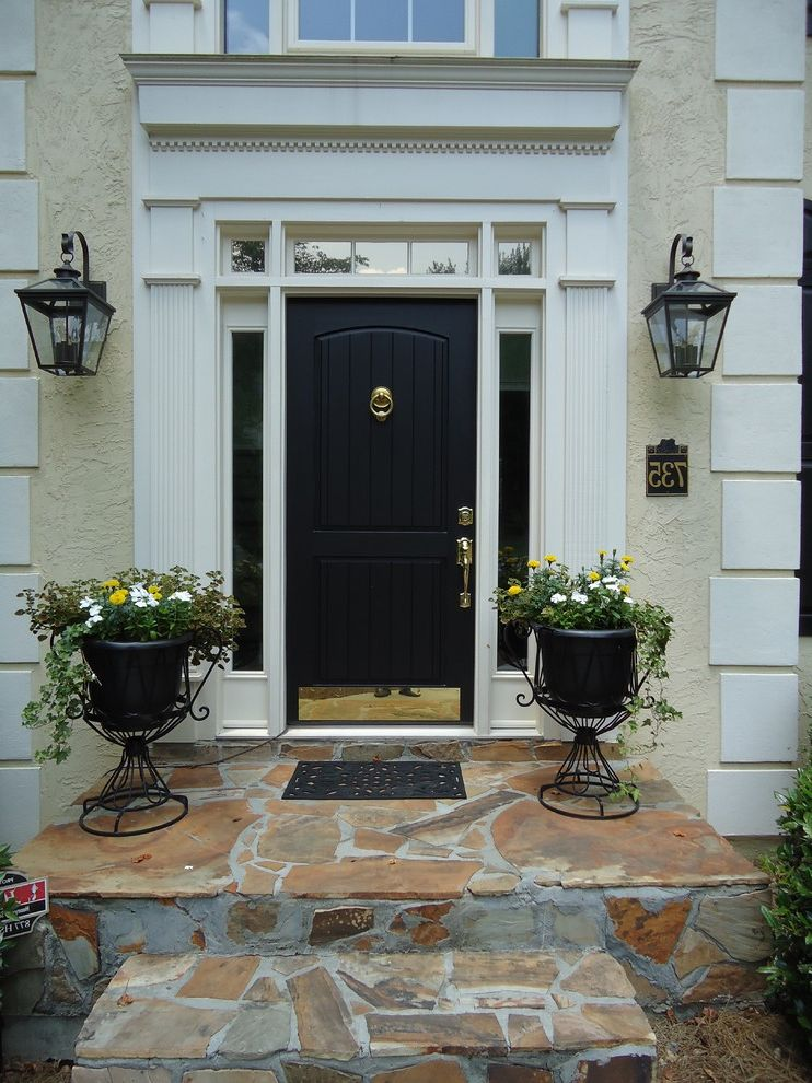 Okay Google Home Depot   Traditional Entry Also Black Brass Kickplate Front Door House Numbers Knocker Lanterns Quoins Ring Steps Stone Stonework Stucco Traditional Transom Windows Urns