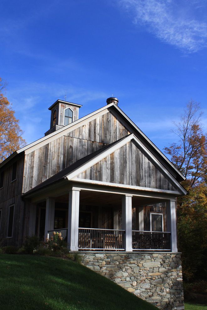 Old Barn Wood for Sale   Rustic Exterior Also Barn Wood Columns Covered Porch Cupola Gable Roof Hillside Lawn Outdoor Seating Rustic Stacked Stone Foundation Weathered Wood Wood Railing