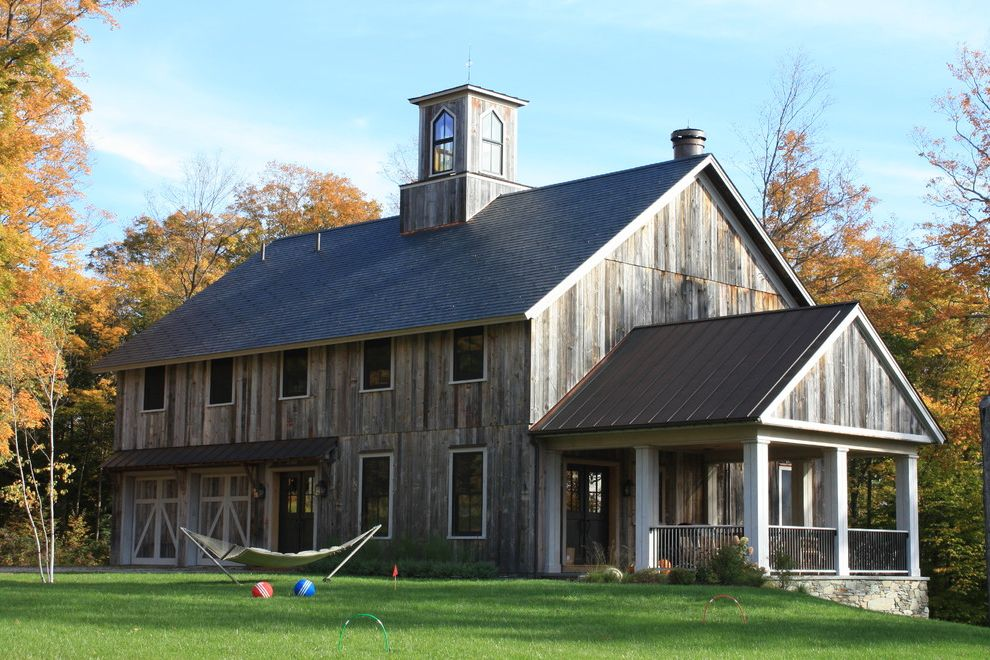 Old Barn Wood for Sale   Rustic Exterior  and Barn Barn Doors Covered Porch Cupola Gable Roof Hammock Lawn Stacked Stone Foundation Weathered Wood Wood Railing