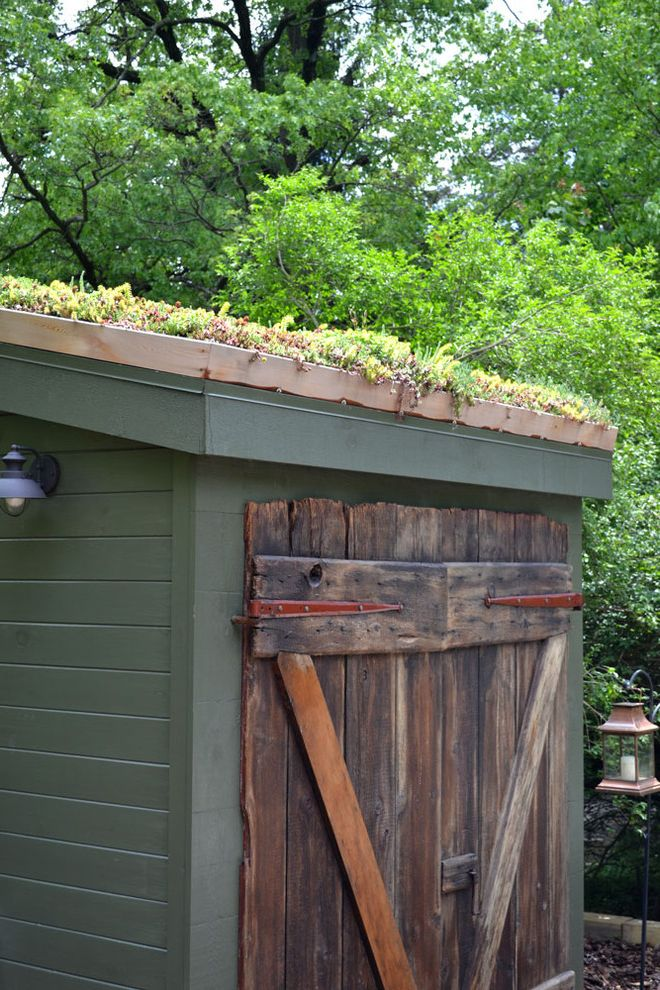 Old Hickory Buildings and Sheds   Rustic Shed  and Barn Door Green Planted Roof Reclaimed Wood Rustic Rustic Door Shed Shed Roof Storage