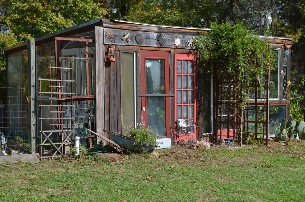 Old Hickory Buildings and Sheds with Eclectic Shed Also Arbor Bohemian Climbing Plants Green Greenhouse Orange Lantern Plants Reclaimed Recycled Red Trim Trellis Upcycled Windows