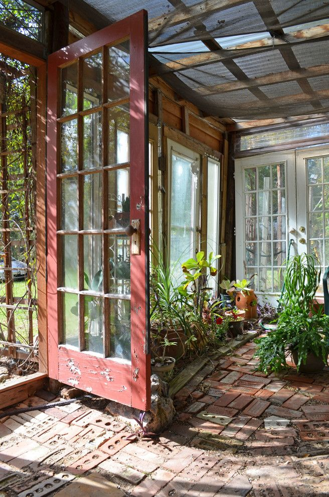 Old Hickory Buildings and Sheds with Eclectic Shed Also Bohemian Brick Floor Distressed Paint Green Greenhouse Keyhole Muntins Plants Reclaimed Recycled Red Door Screen Roof Upcycled Windows