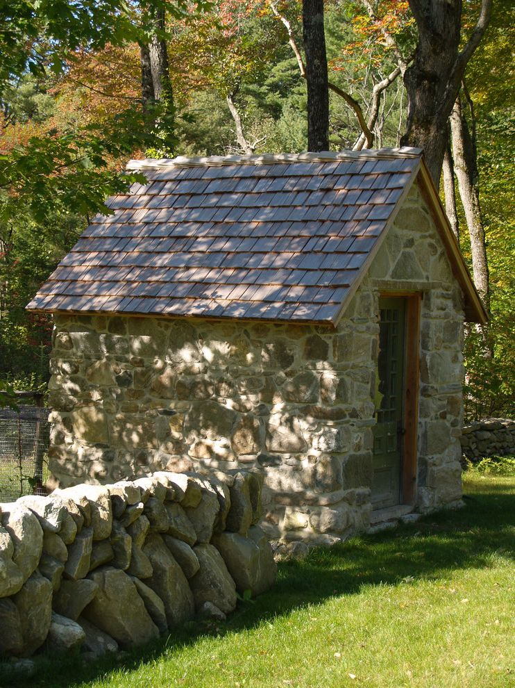 Old Hickory Buildings and Sheds with Traditional Shed  and Gable Roof Grass Lawn Small Utility Building Stone Building Stone Wall Tile Roof Wood Trim Woods