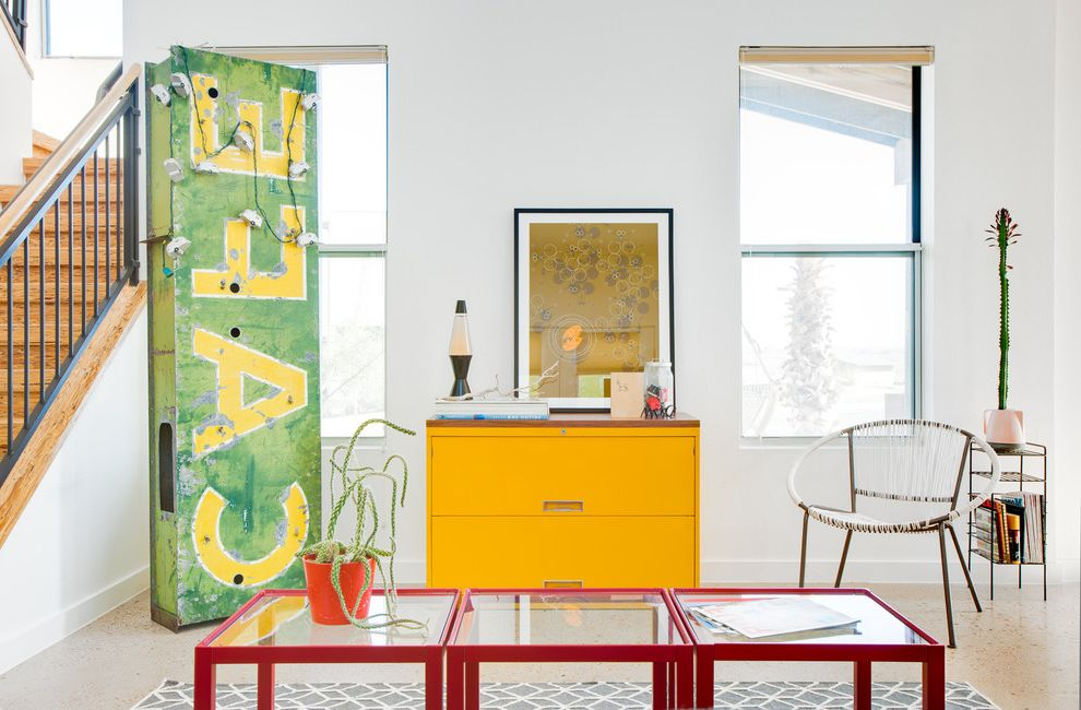 Old Neon Signs for Sale   Eclectic Living Room Also Cactus Cafe Sign Geometric Area Rug Gray Gray Rug Lounge Chair Polished Aggregate Floor Red Glass Topped Accent Tables Red Side Table Rope Chair Sign Staircase String Lights Yellow File Cabinet