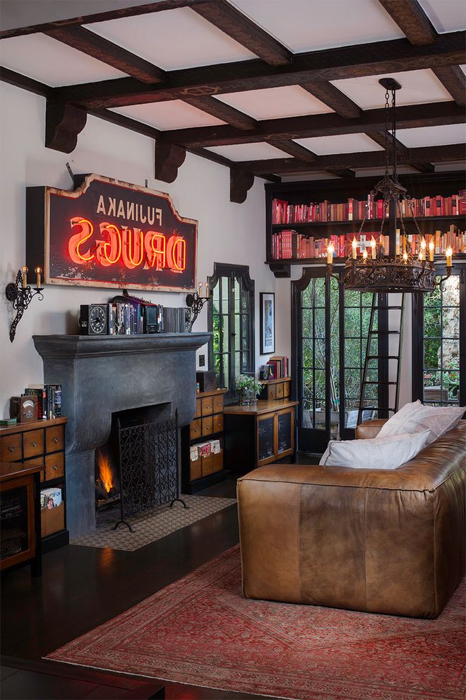 Old Neon Signs for Sale with Traditional Living Room  and Bathroom Brown Leather Couch Coffered Ceiling Drummonds Los Feliz Spanish Wrought Iron Chandelier