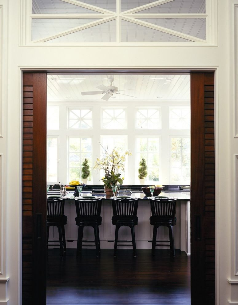 Omaha Door and Window   Traditional Kitchen  and Barstool Beadboard Ceiling Black Barstool Ceiling Fan Farmhouse Kitchen French Window Kitchen Island Kitchen Island with Sink Pocket Door