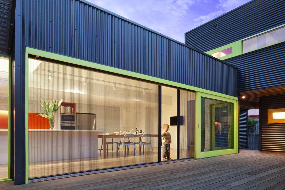 One Way Window Screen   Contemporary Exterior  and Deck Flat Roof Glass Door Green Accents Indoor Outdoor Kitchen Metal Exterior Patio Picture Windows