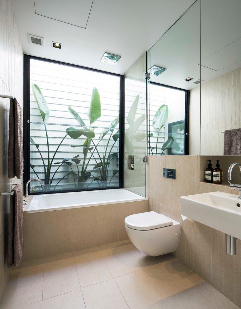 One Way Window Screen   Modern Bathroom Also Contemporary Bathroom Contemporary Bathroom Design Modern Bathroom Natural Light Tropical