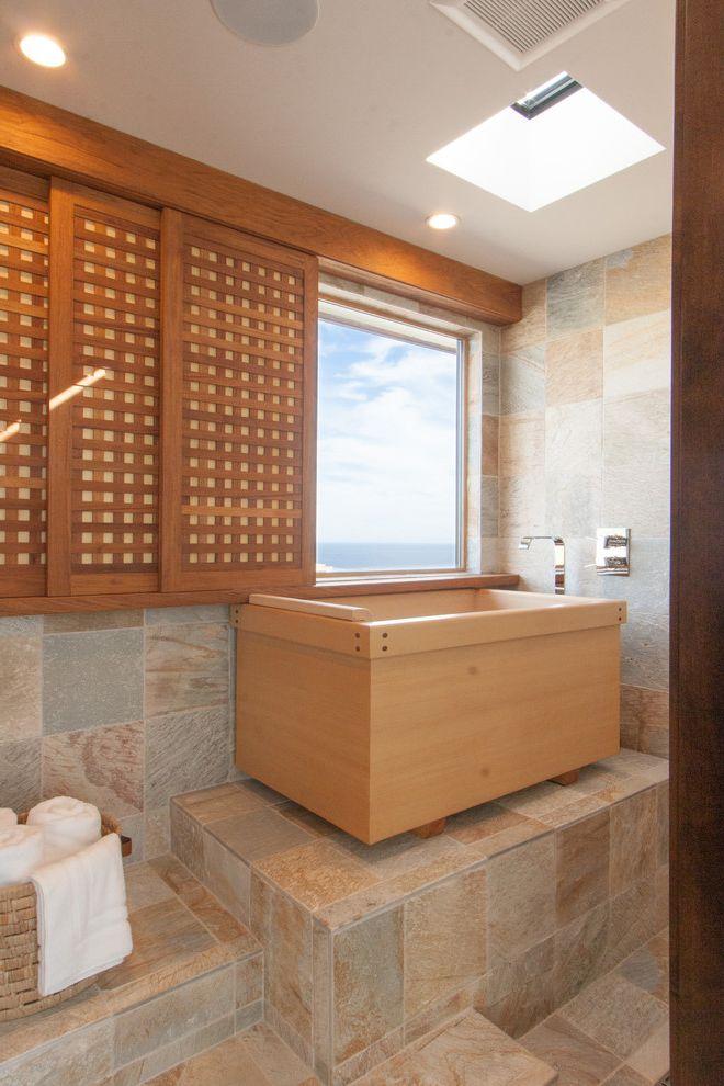 One Way Window Screen with Asian Bathroom  and Lattice Raised Bathtub Skylight Sliding Window Screen Stone Floor Tile