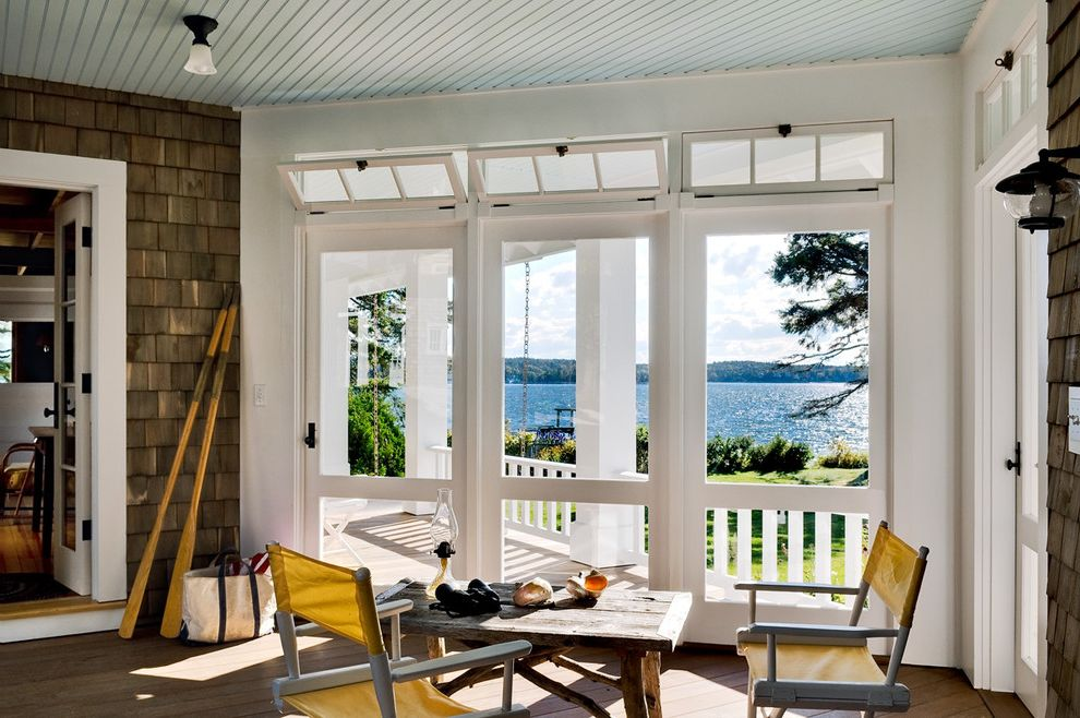 One Way Window Screen with Beach Style Porch Also Ceiling Lighting Deck Directors Chair Entrance Entry Folding Chair Hopper Windows Rustic Screen Porch Shingle Siding View Waterfront Wood Ceiling