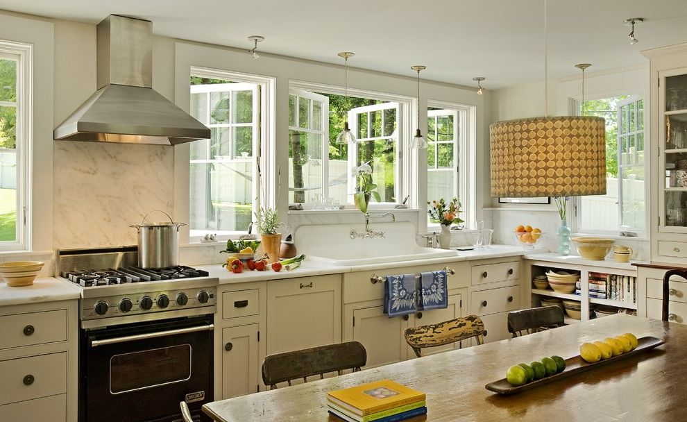 One Way Window Screen with Traditional Kitchen Also Ceiling Lamp Craftsman Cabinets Marble Backsplash Marble Countertop Open Shelf Painted Kitchen Cabinets Porcelain Sink Rustic Chairs Rustic Kitchen Cabinets Rustic Wooden Table
