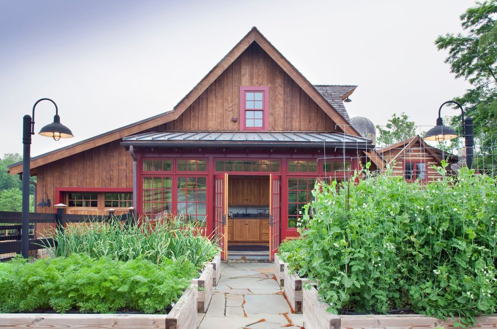 Orange County Building Department   Traditional Shed  and Barn Flagstone French Doors Garden Lantern Metal Roof Planter Boxes Raised Garden Beds Red Painted Windows Shed Roof Street Lamp Wood Siding Barn Siding