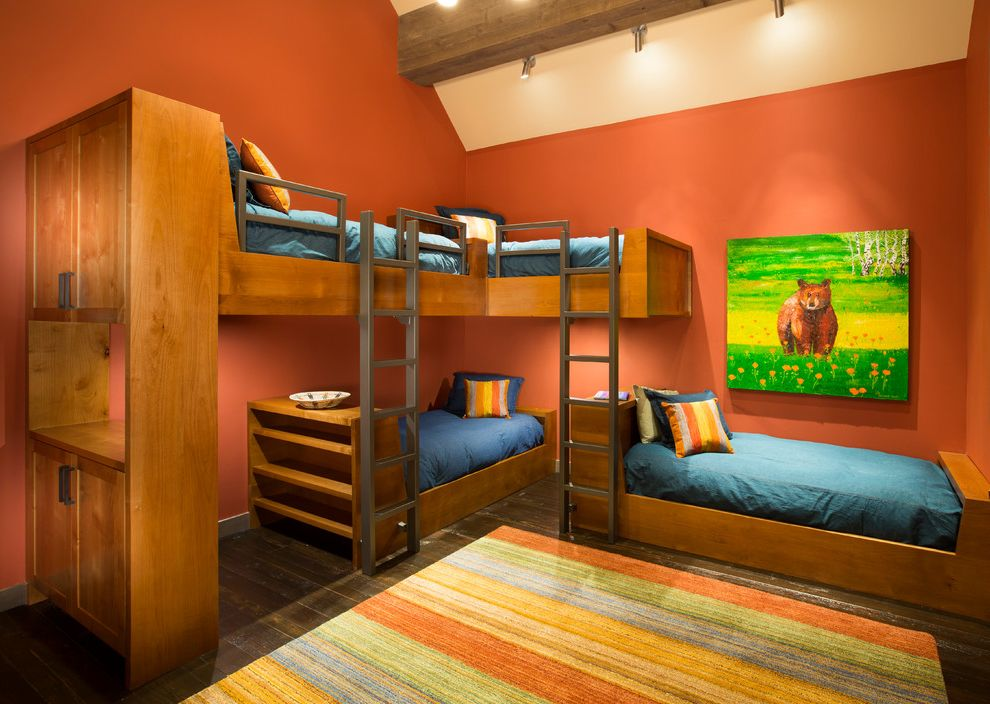 Orange County Building Department with Contemporary Kids  and Beam Bear Blue Bedding Bookshelves Bunk Beds Bunk Room Cabinets Ladder Orange Pumpkin Slanted Ceiling Striped Rug Throw Pillow Track Lighting