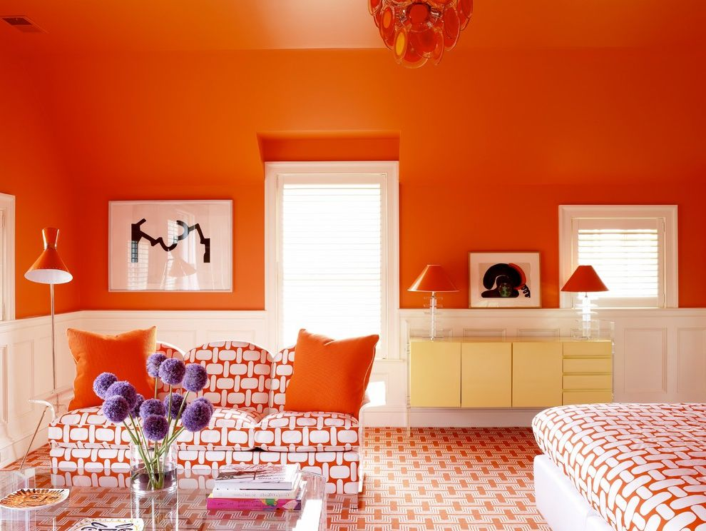 Orange County Dba   Transitional Bedroom Also Connecticut Contemporary Custom Made Fair Field County Greenwich Modern New Canaan Orange Orange and White Sitting Area