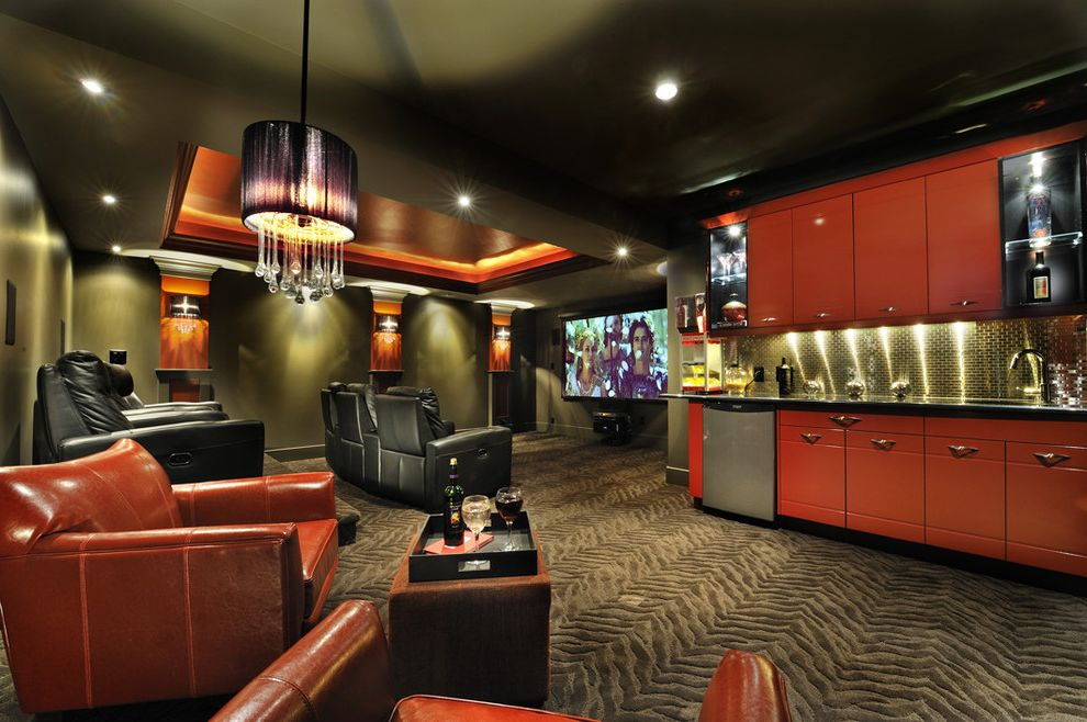 Orange Park Theater with Contemporary Home Theater Also Black Ceiling Black Leather Theater Seating Carpeting Cove Lights Dark Gray High Gloss Lacquered Cabinets Media Red Stainless Steel Tile Tray Ceiling Zebra