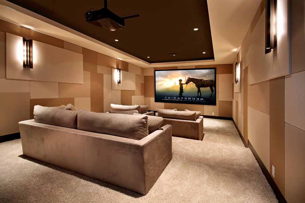 Orange Park Theater with Contemporary Home Theater  and Home Theater Patchwork Sconce Screening Room Soffit Stadium Seating Tan Sofa Textured Walls Tiered Seating Wall Lighting