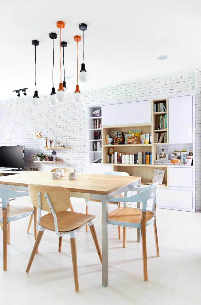 Orange Theory Buckhead with Contemporary Dining Room  and Contemporary Dining Room Industrial Lights Large Book Shelf Natural Light Open Plan Scandinavian Furniture White Bricks White Tiles