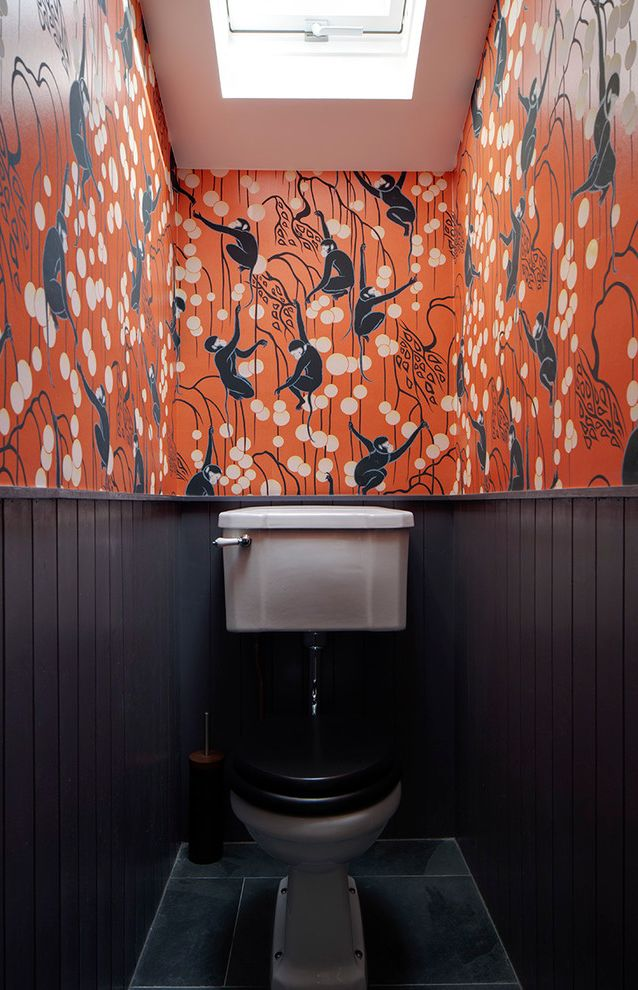 Orange Theory Buckhead with Eclectic Powder Room  and Cloakroom Downstairs Toilet Orange Orange Wallpaper Small Bathroom Wall Panelling