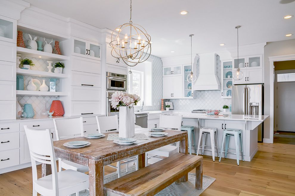 Orb Chandelier Lowes   Transitional Dining Room Also Buil Tin Cabinets Dining Bench Metal Bar Stools Open Shelves Orb Chandelier Recessed Lighting White Countertop White Dining Chairs Wood Dining Table