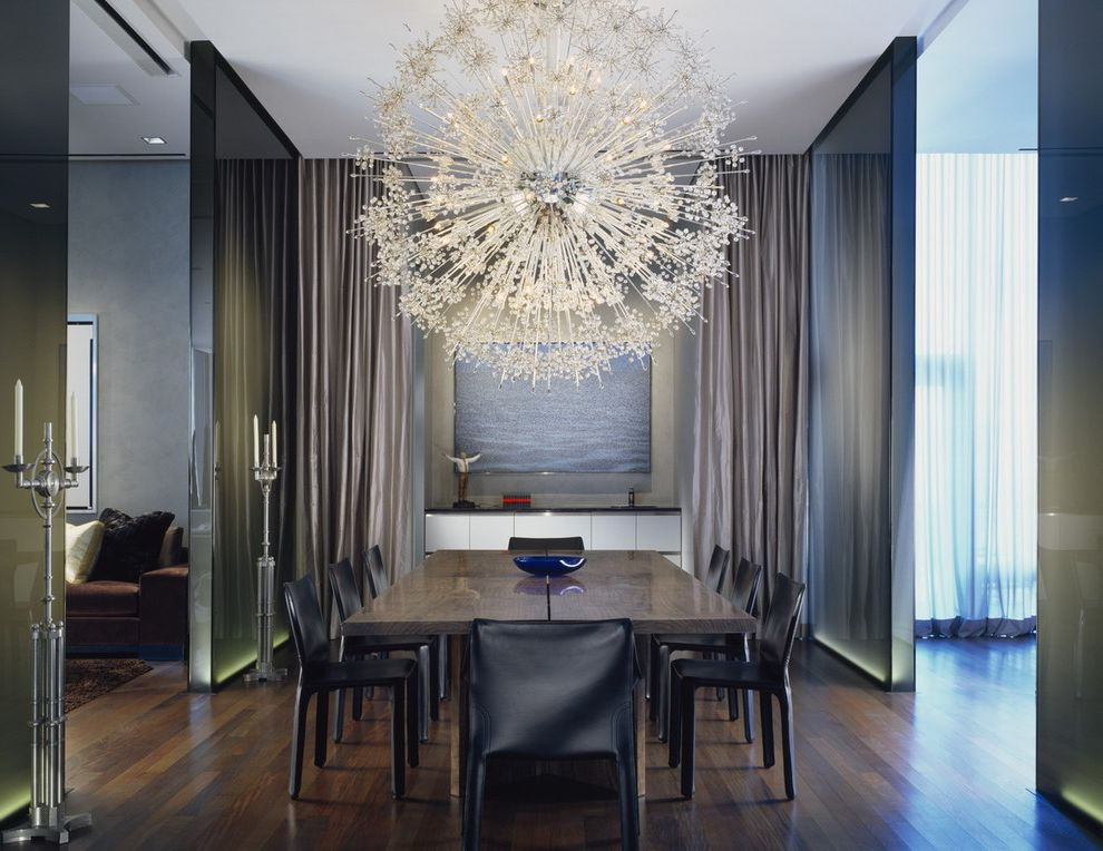 Orb Chandelier Lowes with Contemporary Dining Room Also Artwork Candelabra Chandelier Cove Lighting Dark Floor Dining Drapes Modern Light Fixture Neutral Colors Sputnik Chandelier Up Lighting Wall Decor