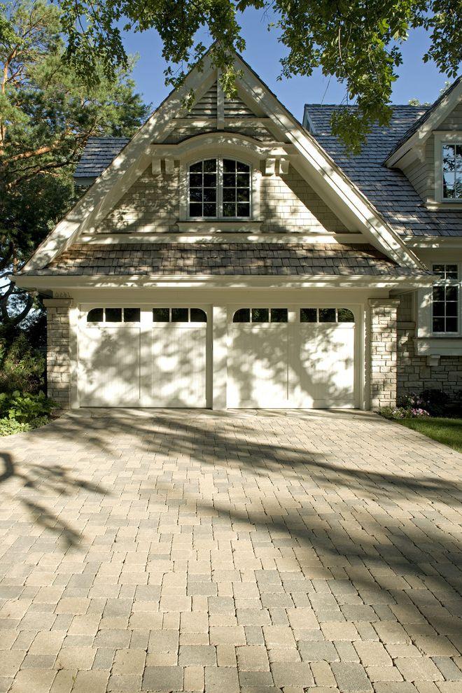 Orco Pavers   Traditional Garage  and Brick Driveway Brick Facing Brick Paving Dormer Windows Garage Doors Modular Bricks Pavers Pitched Roof Shake Roof White Trim