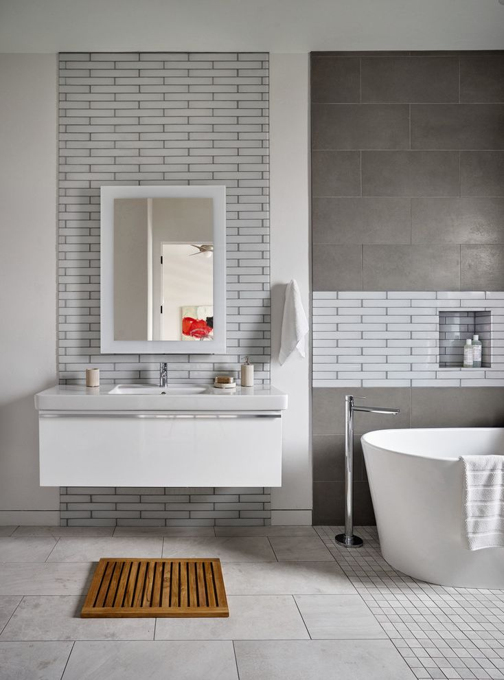 Oregon Tile And Marble Contemporary Bathroom Also Floating Vanity Garrison Hullinger Lake Oswego Niche Portland