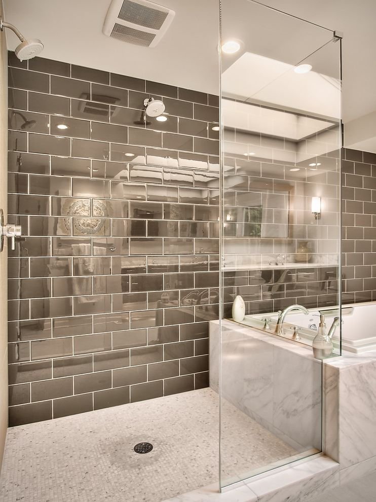 Oregon Tile and Marble   Contemporary Bathroom  and Brown Glass Gray Marble Mosaic Tile Shower Enclosure Subway Tile Tub Two Shower Heads