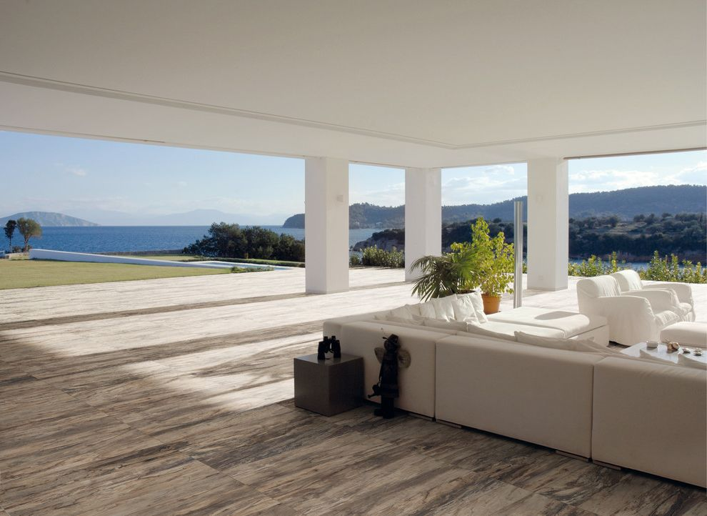 Oregon Tile and Marble   Contemporary Patio Also Acif Kauri Bark Indoor Outdoor Natural and Lappato Finishes Tile Floor Water View White Sectional Wood Look Porcelain