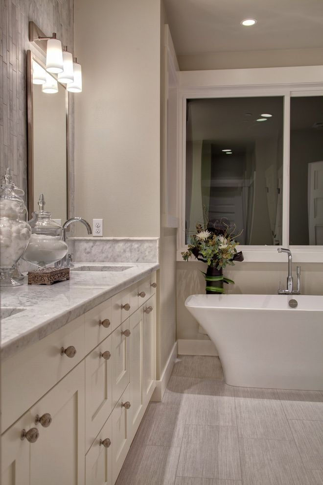 Oregon Tile and Marble   Transitional Spaces Also Grey Marble Bath Master Bath Shaker Vanity Cabinet Square Sinks Tile Behind Mirrors Vertical Tile White