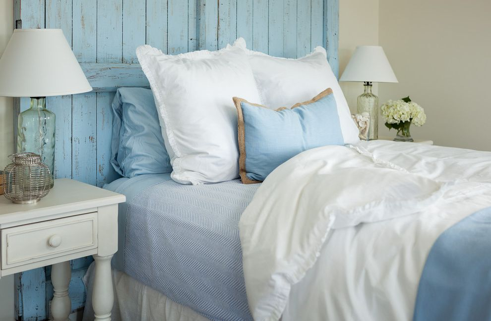 Organic Egyptian Cotton Sheets   Beach Style Bedroom  and Antique Headboard Beach House Blue and White Custom Distressed Blue Painted Headboard Guest Bedroom Master Bedroom New Construction Ocean Front Ocean View Reclaimed Floors Transitional