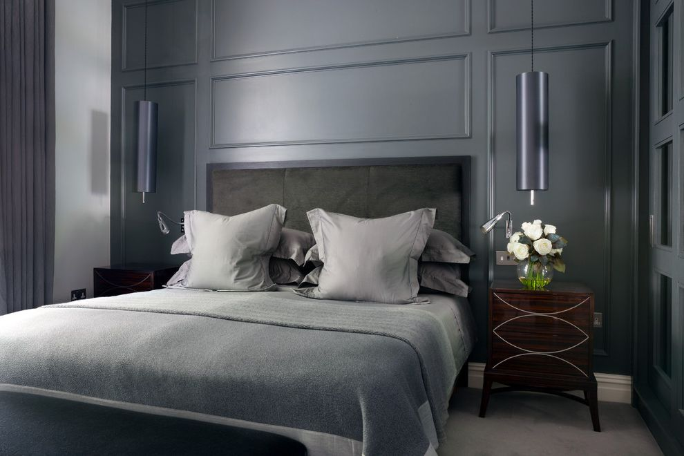 Organic Egyptian Cotton Sheets   Contemporary Bedroom  and Bedside Pendants Contemporary Bedroom Cushions Cylinder Pendant Grey Grey Bed Linen Grey Bedroom Grey Cushions Guys Bedroom Mans Bedroom Mens Bedroom Throw White Wood