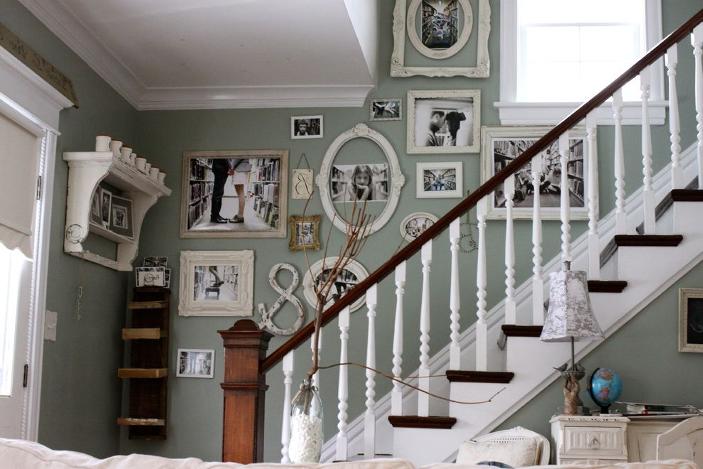 Ornament Picture Frames   Shabby Chic Style Staircase Also Banister Cottage Gallery Wall Handrail Rustic Shabby Chic Wall Art Wall Decor Wall Letters Wall Shelves White Wood Wood Railing Wood Trim Wooden Staircase