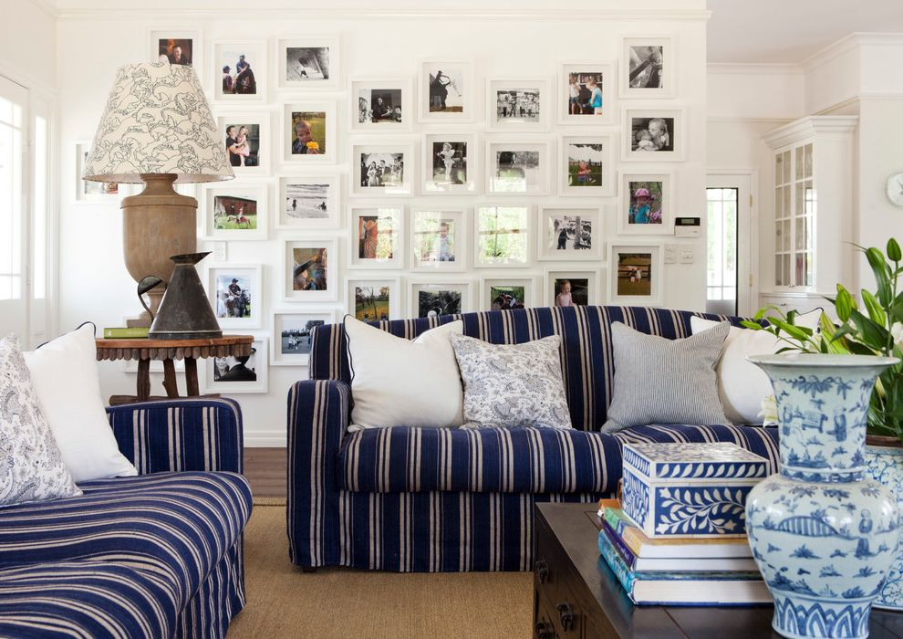 Ornament Picture Frames   Traditional Family Room  and Framed Photos Lamp Photo Arrangement Photo Collage Sisal Rug Striped Sofa Vases