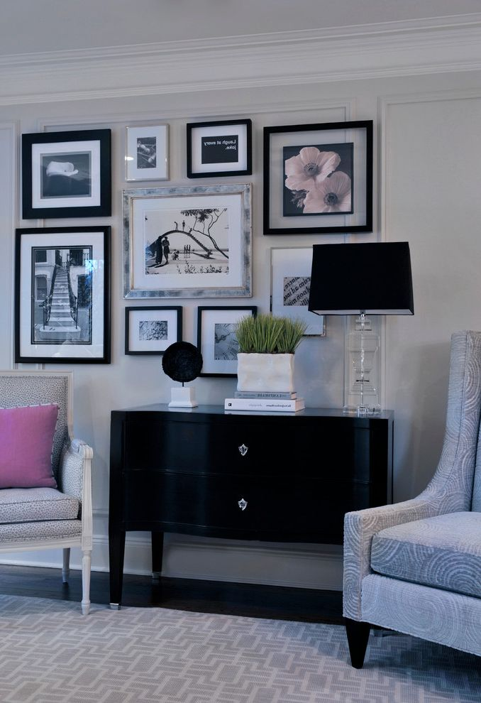 Ornament Picture Frames with Traditional Living Room Also Art Wall Bureau Console Table Glamorous Glass Table Lamp Gray Hollywood Regency Photographs Pink Printed Area Rug Swirls