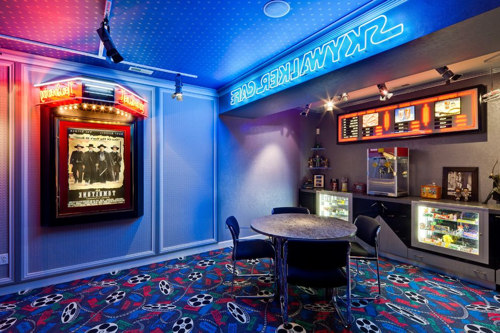 Orono Movie Theater with Contemporary Home Theater Also Candy Cases Carpeting Concession Stand Marquee Menu Movie Theater Theme Neon Lights Round Table Snack Area Track Lights