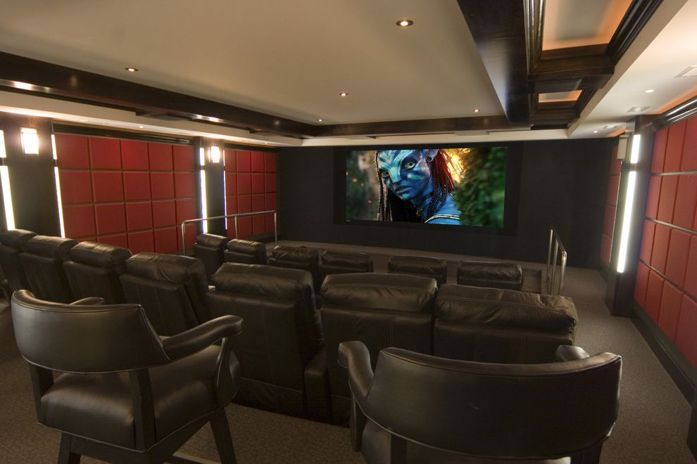 Orono Movie Theater with Contemporary Home Theater Also Ceiling Lighting Ceiling Treatment Coffered Ceiling Cove Lighting Home Theater Paneling Recessed Lighting Reclining Chairs Sconce Screening Room Stadium Seating Wall Lighting
