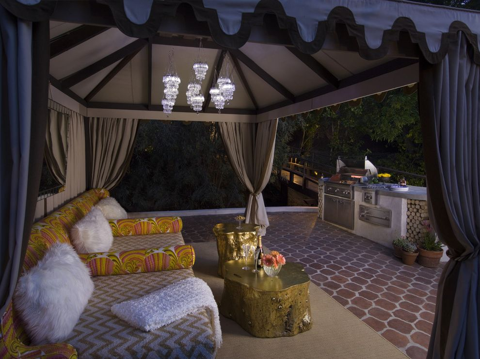 Outdoor Cabana Bed   Mediterranean Patio  and Cabana Colorful Furry Pillows Gold Accessories Graphic Moorish Pendants Outdoor Curtains Outdoor Cushions Outdoor Kitchen Outdoor Rug Patio Furniture Retro Prints Stump Table Terracotta Tile