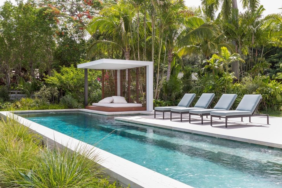 Outdoor Cabana Bed   Tropical Pool Also Architecture Contemporary Design Fl Florida Hot Tub Landscape Louvers Miami Modern Ocean Palm Pool Sea Tropical Waterfront White